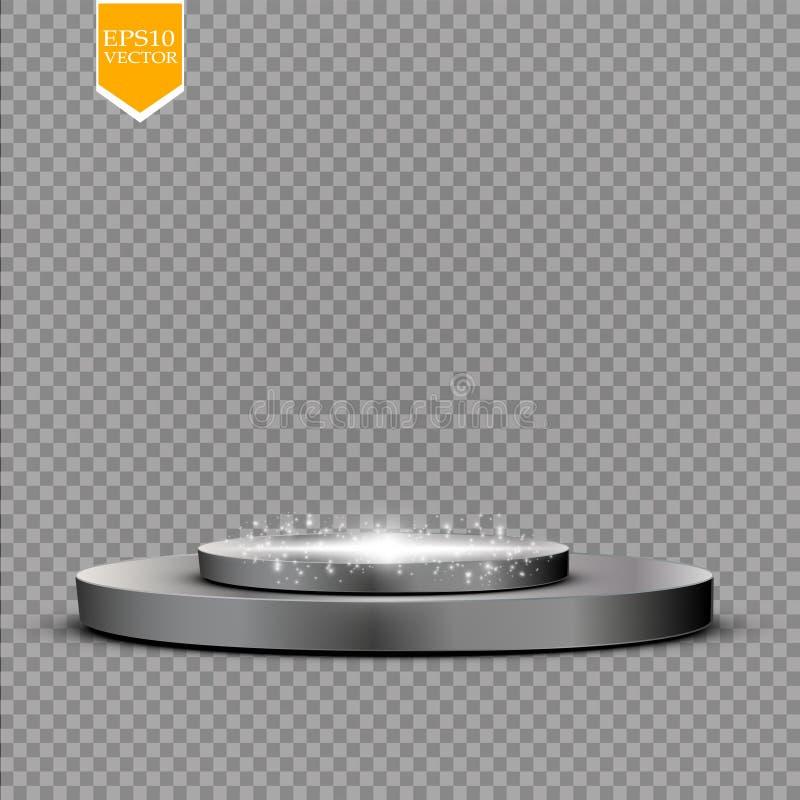 Fondo brillante astratto del podio con i riflettori Scena brillante bianca Vincete il lusso, il successo e la progettazione del t illustrazione vettoriale