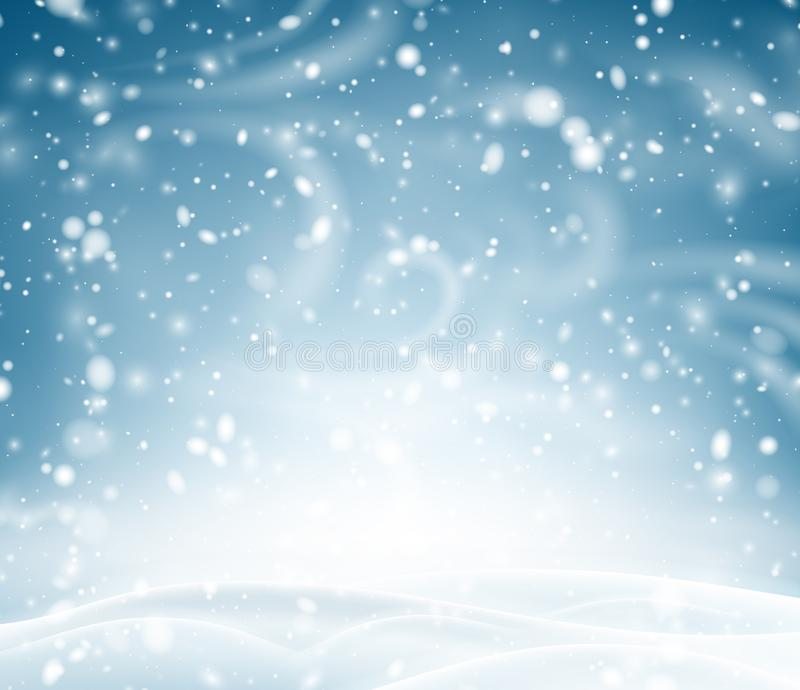 Fondo brillante azul con paisaje, nieve y la ventisca del invierno libre illustration