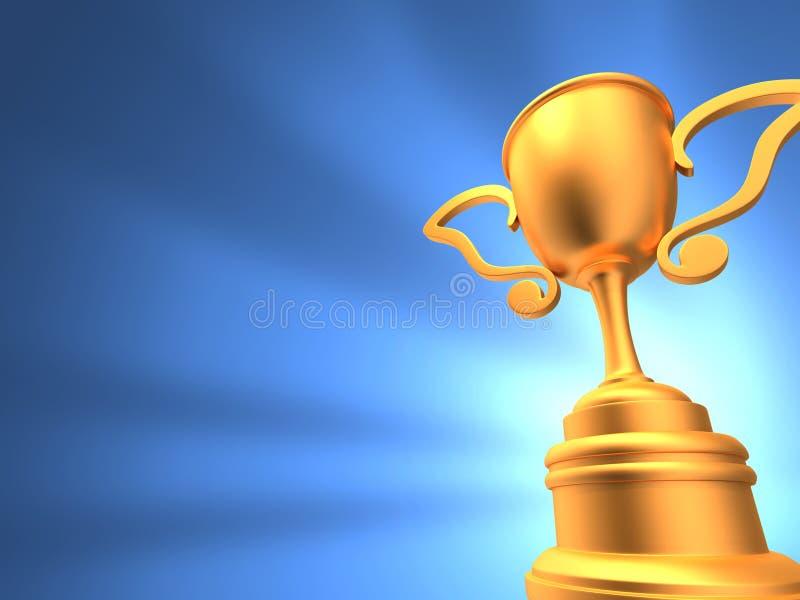 Fondo brillante azul del trofeo foto de archivo libre de regalías