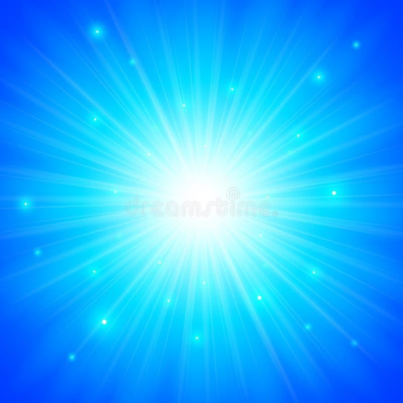 Fondo brillante blu del sole di vettore illustrazione di stock