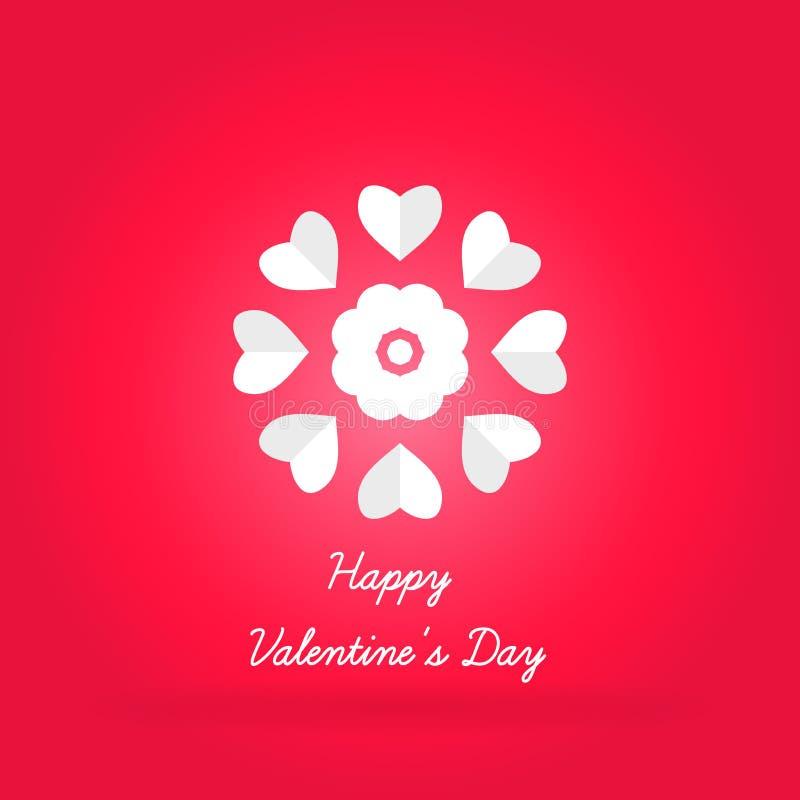 Fondo brillante celebrador para el día del ` s de la tarjeta del día de San Valentín Corazón blanco volumétrico stock de ilustración