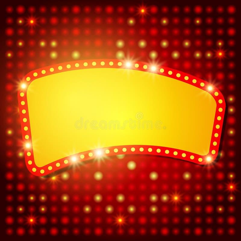 Fondo brillante con la bandera retra de la luz del casino libre illustration