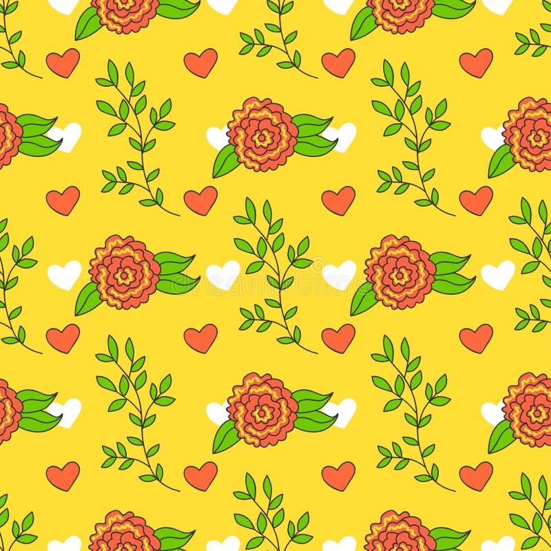Fondo brillante con las flores y las hojas Papel pintado del verano de la historieta El modelo inconsútil se puede utilizar para  libre illustration