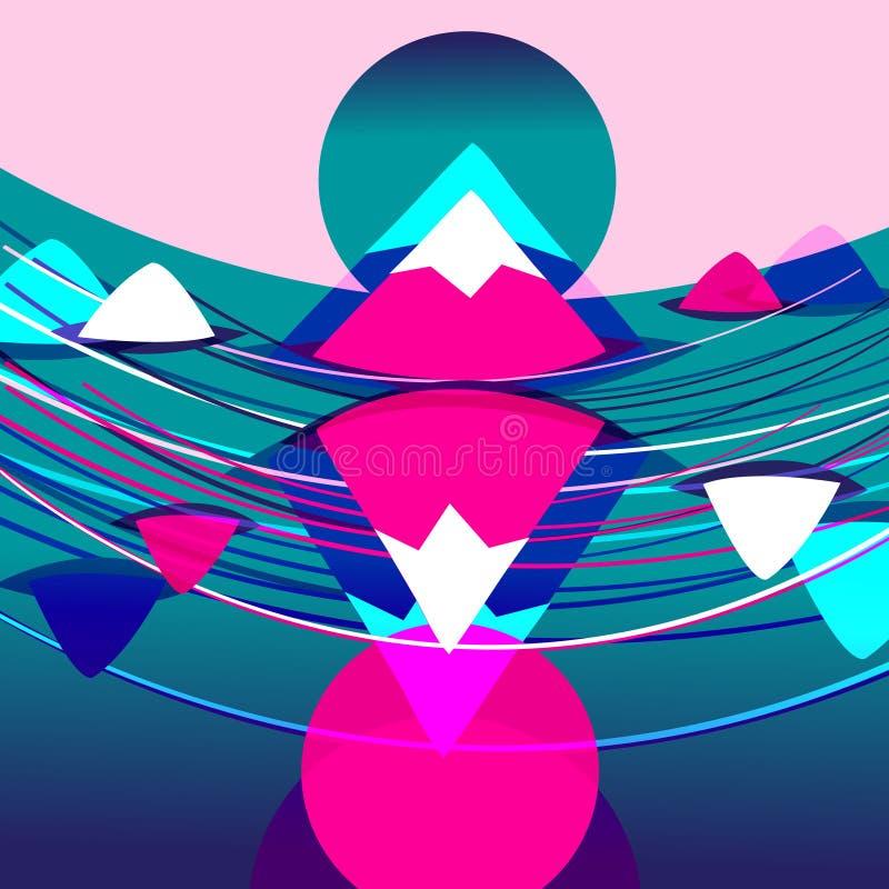 Fondo brillante con las montañas y las ondas rosadas ilustración del vector