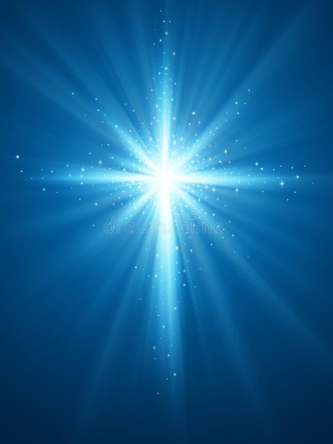 Fondo brillante de la estrella con la cruz stock de ilustración