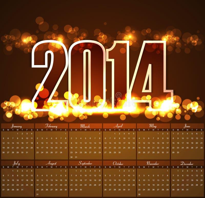 Fondo brillante 2014 de la plantilla del calendario del diseño del vector ilustración del vector
