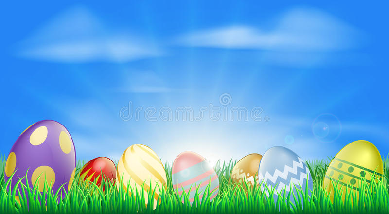 Fondo brillante de los huevos de Pascua ilustración del vector