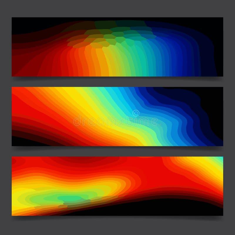 Fondo brillante de neón colorido y puntos multicolores, disposición festiva del arco iris abstracto del cartel stock de ilustración