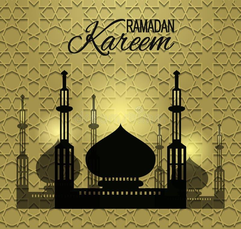 Fondo brillante de Ramadan Kareem con la silueta de la mezquita Tarjeta de felicitación para el mes santo el Ramadán Fondo de Ram ilustración del vector
