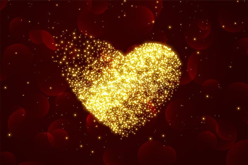 Fondo brillante dei cuori della particella per il giorno di biglietti di S. Valentino illustrazione di stock