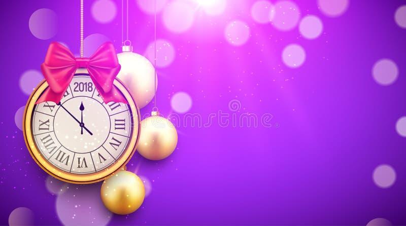 Fondo brillante del Año Nuevo 2018 con el reloj Cartel de oro 2018, plantilla festiva de las bolas de la decoración de la celebra stock de ilustración