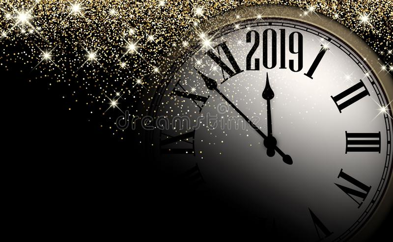 Fondo brillante del Año Nuevo 2019 del oro con el reloj Tarjeta de felicitación stock de ilustración