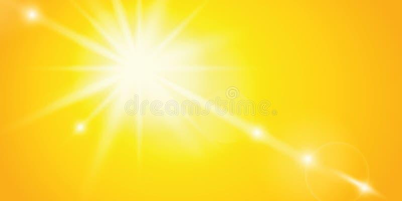 Fondo brillante del amarillo del cielo de la sol libre illustration