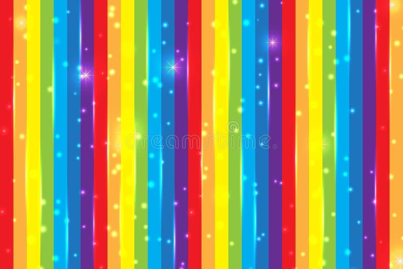 Fondo brillante del arco iris con las partículas brillantes Fondo para la decoración de la tarjeta del día de fiesta Bandera mult stock de ilustración