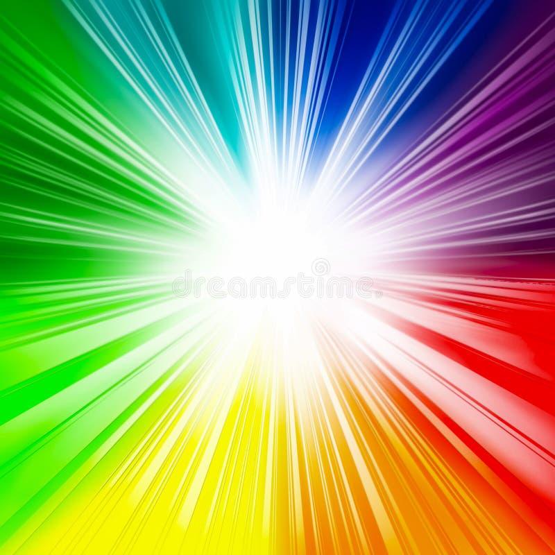 Fondo brillante del arco iris, rayos, centro de destello, blanco, rayos del centro, diversión, colores del arco iris, día de fi stock de ilustración