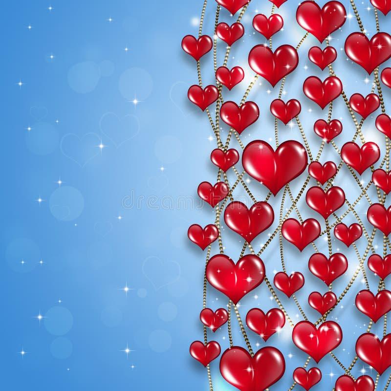 Fondo brillante del día de fiesta de los corazones stock de ilustración