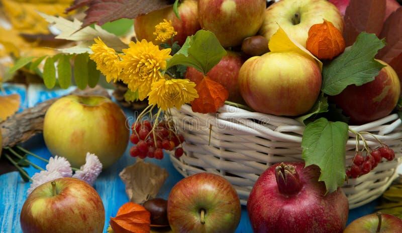 Fondo brillante del otoño Flores, hojas y frutas en un fondo de madera azul Fondo para los días de fiesta y el thanksgiv del otoñ foto de archivo
