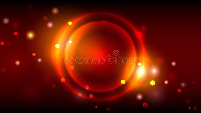 Fondo brillante del partido, círculos que brillan intensamente de oro de neón, marco redondo multicolor del extracto en el fondo  libre illustration