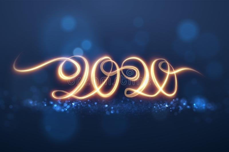 fondo brillante del rastro de la luz del vector de 2020 números del Año Nuevo ilustración del vector