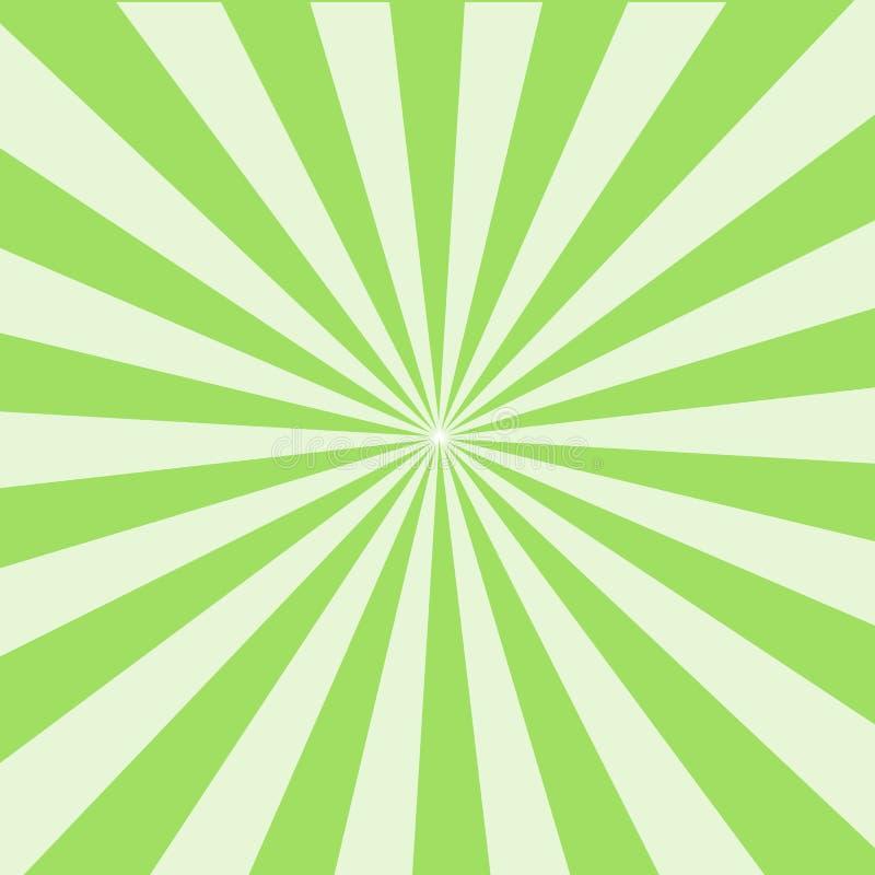 Fondo brillante del rayo del sol Modelo del resplandor solar de Sun el verde irradia el fondo del verano fondo de los rayos solar ilustración del vector