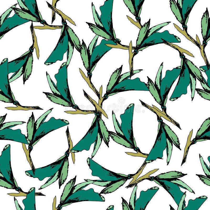 Fondo brillante del vintage de hojas verdes Contornos exhaustos en un fondo blanco bosquejo Textura sin fin para su diseño, teja  ilustración del vector