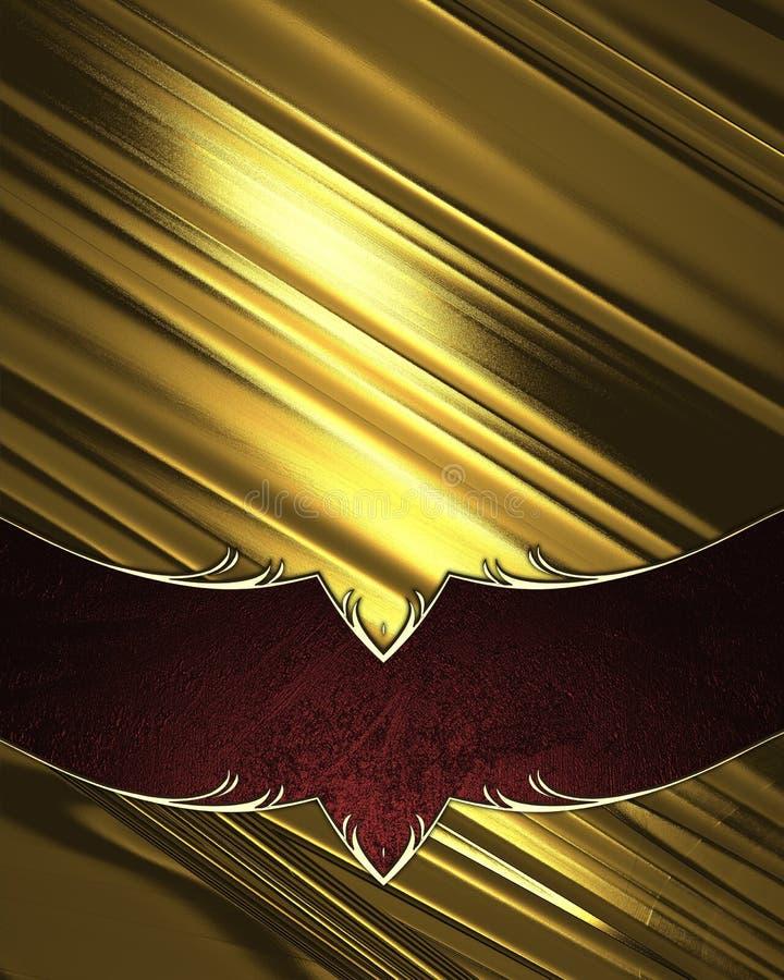 Fondo brillante dell'oro con la decorazione rossa Elemento per progettazione Mascherina per il disegno copi lo spazio per l'opusc illustrazione vettoriale