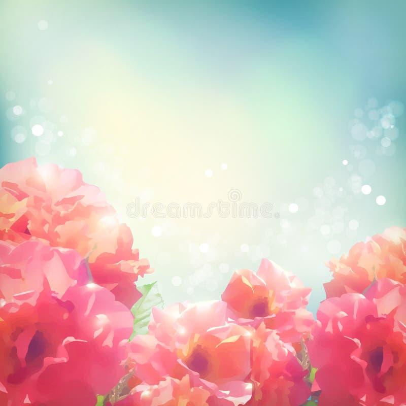 Fondo brillante delle rose dei fiori (peonie) illustrazione di stock