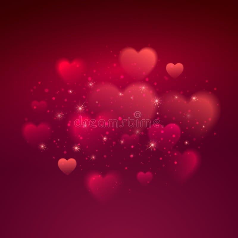 Fondo brillante di giorno di S. Valentino del bokeh dei cuori royalty illustrazione gratis