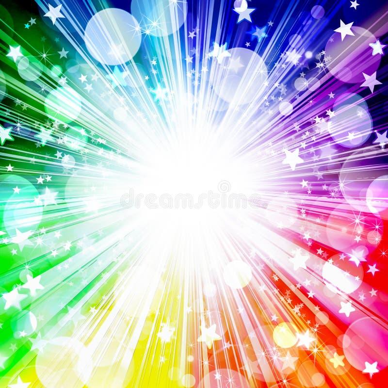 Fondo brillante hermoso del arco iris, estrellas estalladas, estrellas, círculos, rayos, día de fiesta, diversión, partido, festi stock de ilustración