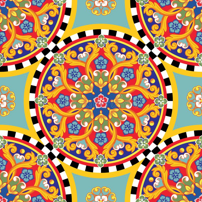 Fondo brillante incons?til Mandala ornamental redonda ?tnica colorida Modelo de moda Ilustraci?n del vector ilustración del vector