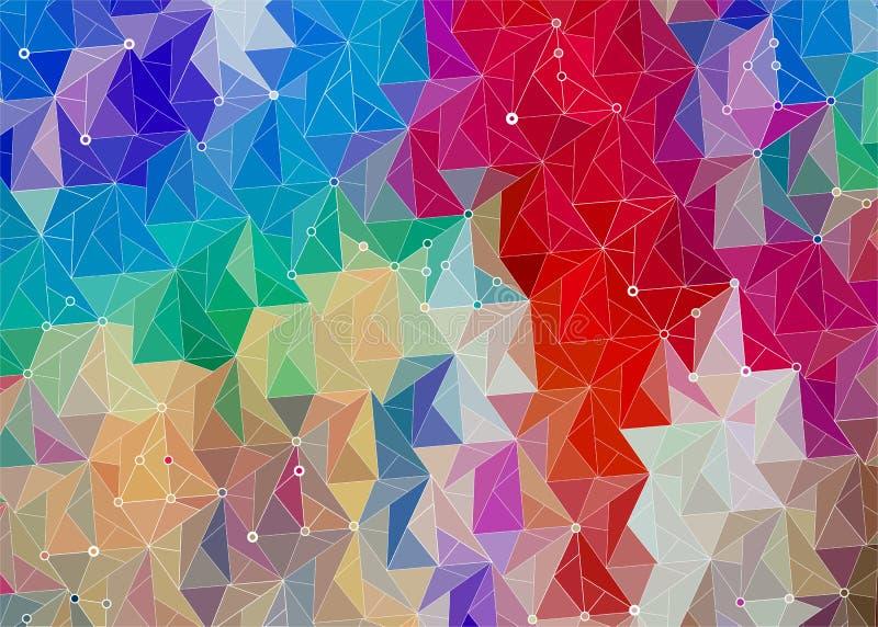 Fondo brillante iridiscente del extracto con los triángulos ilustración del vector