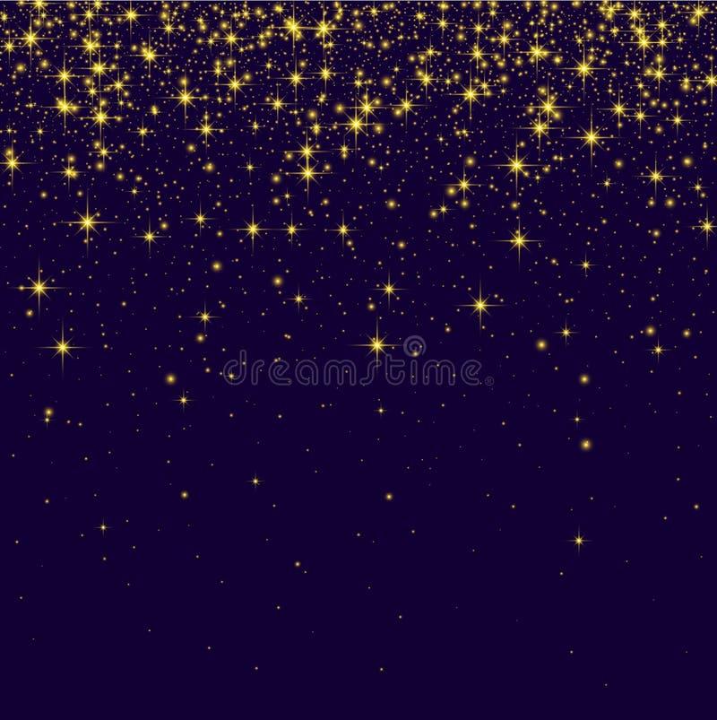 Fondo brillante púrpura con las luces chispeantes de oro ilustración del vector