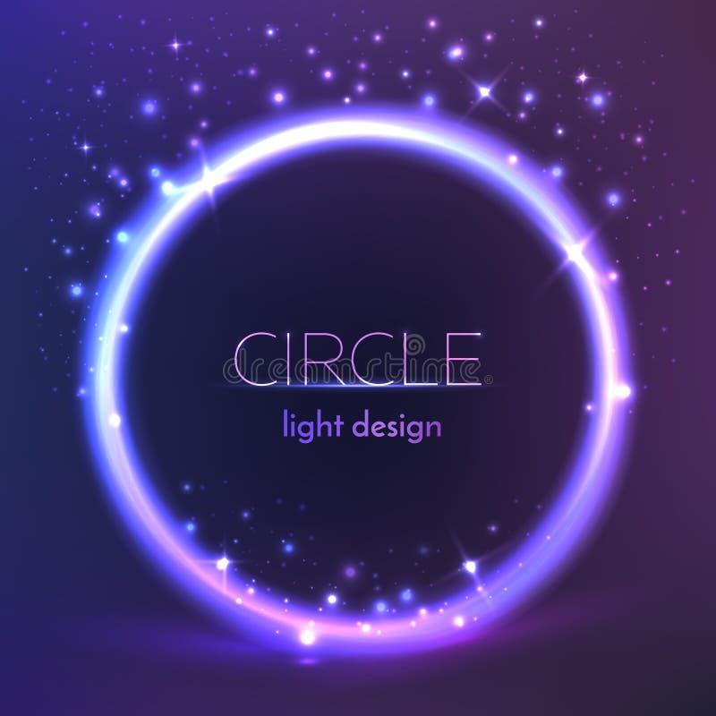 Fondo brillante redondo del marco Diseño de la luz del círculo del vector ilustración del vector