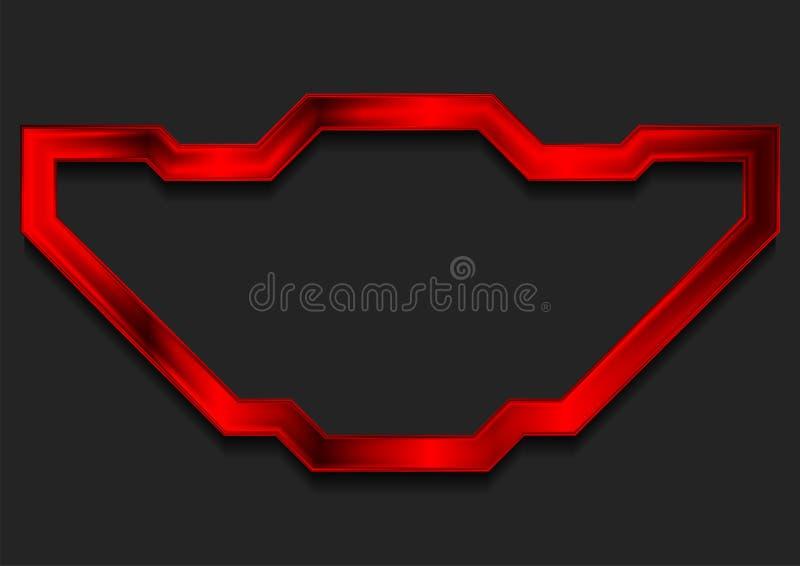 Fondo brillante rojo del extracto del marco de la tecnología stock de ilustración