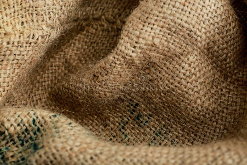 Fondo Brown di struttura del sacco, tessuto fotografia stock