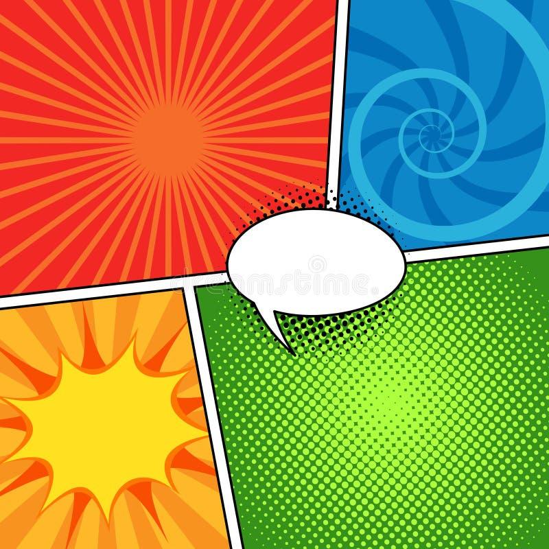 Fondo cómico de la revista fijado con las burbujas del discurso ilustración del vector