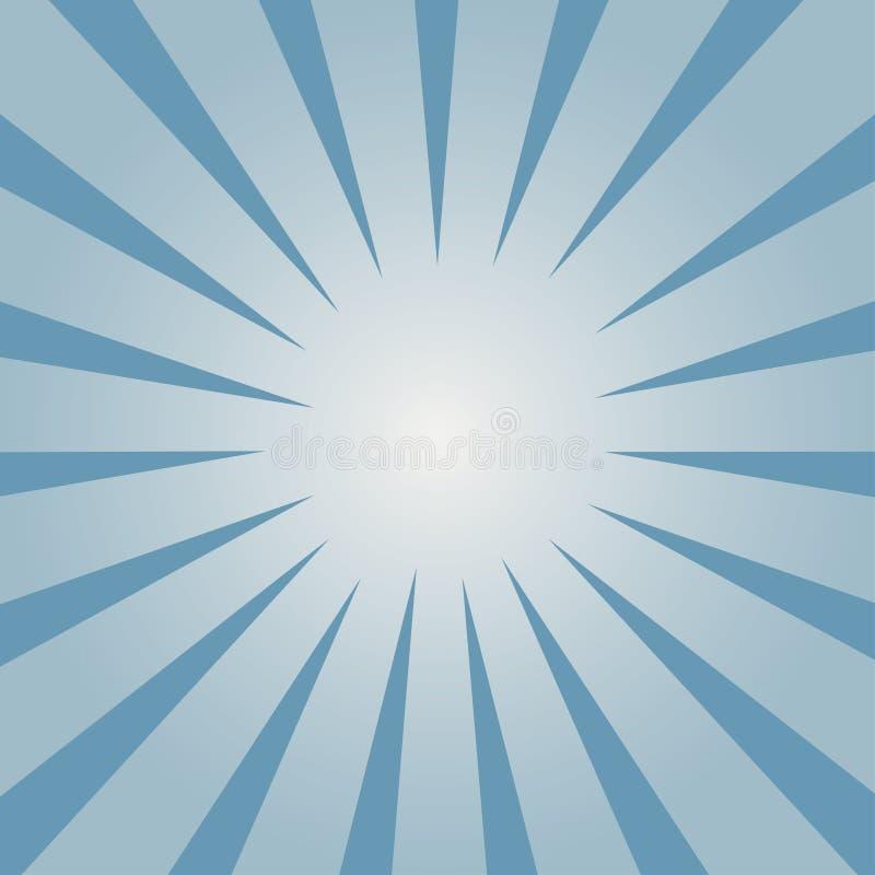 Fondo cómico Modelo azul del resplandor solar Rayos dirigidos dentro del flash Vector libre illustration