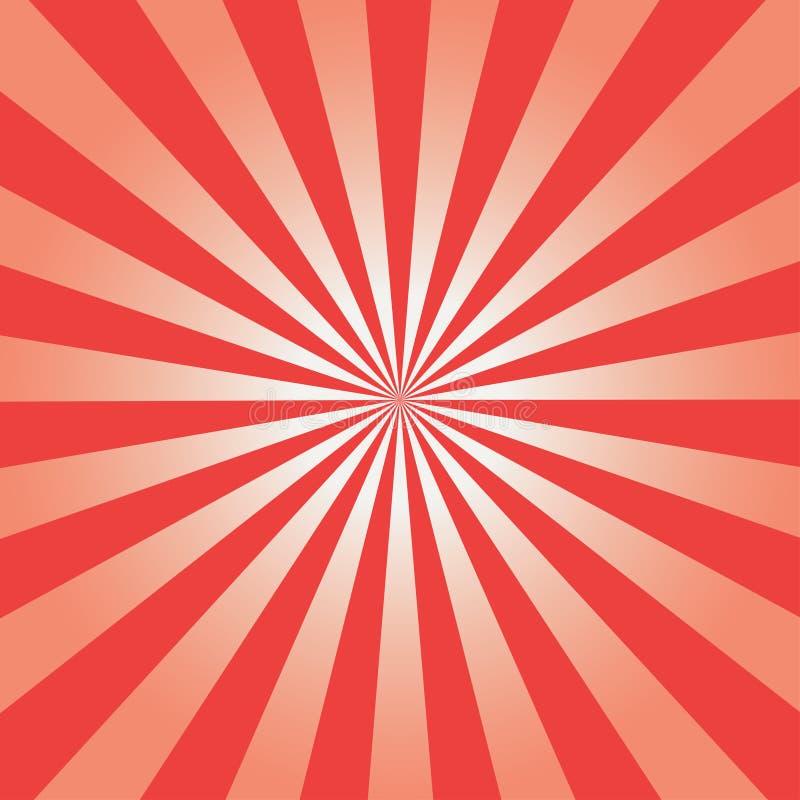 Fondo cómico Modelo rojo del resplandor solar Sun irradia el contexto abstracto Vector ilustración del vector