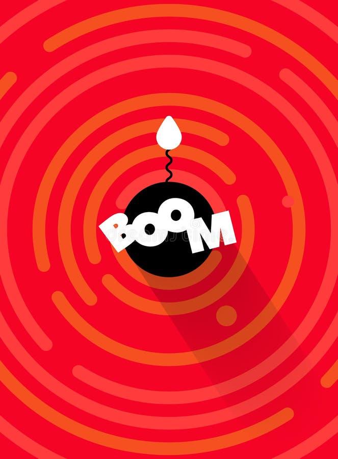 Fondo cómico redondo abstracto de la bomba del AUGE, color rojo Línea redonda formas geométricas del vector ilustración del vector