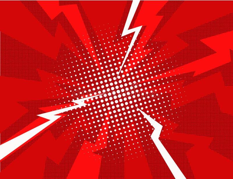 Fondo cómico rojo del estilo del arte pop de la explosión del relámpago ilustración del vector