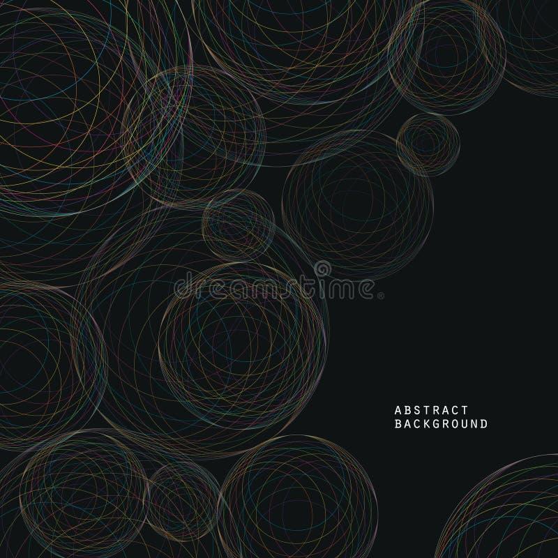 Fondo cósmico abstracto moderno del tema de círculos concéntricos brillantes stock de ilustración