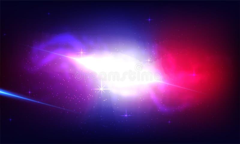 Fondo cósmico de la galaxia con la nebulosa, el stardust y el shinin brillante stock de ilustración