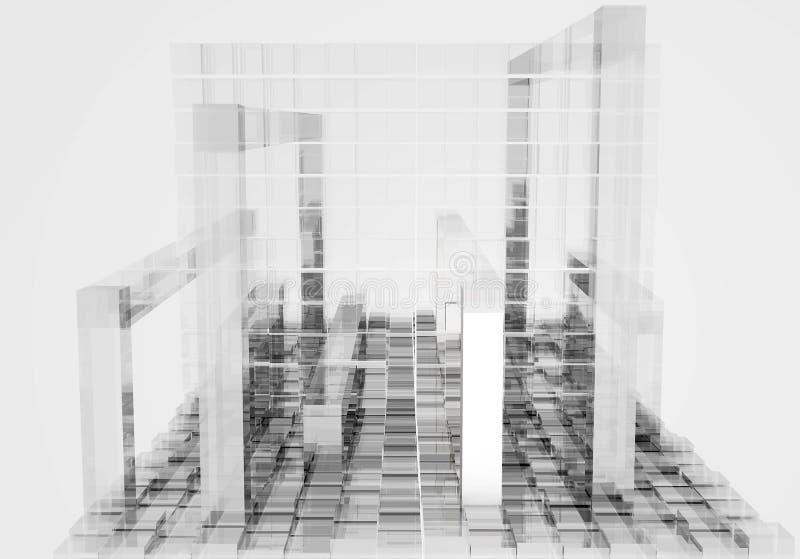 Fondo cúbico blanco abstracto - representación 3D libre illustration