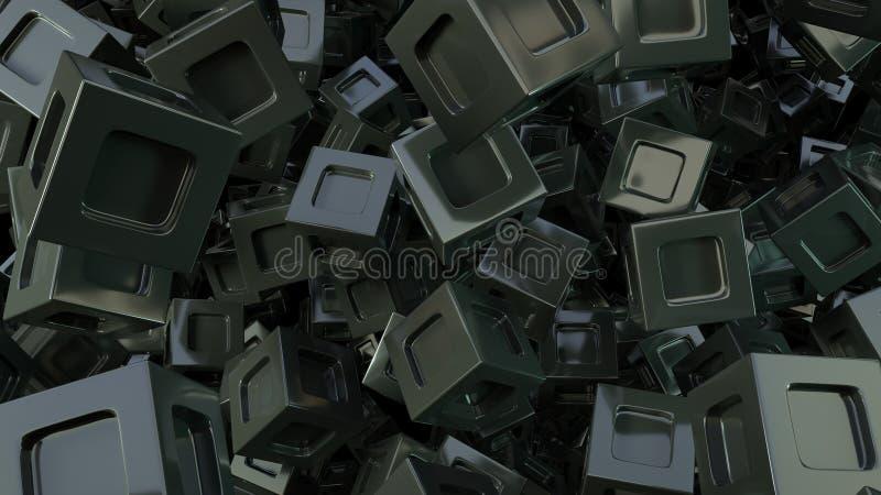 Fondo cúbico del negro abstracto 3d stock de ilustración