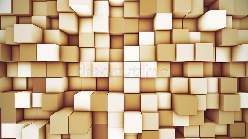 Fondo cúbico moderno abstracto Ejemplo anaranjado del movimiento 3D del cubo stock de ilustración
