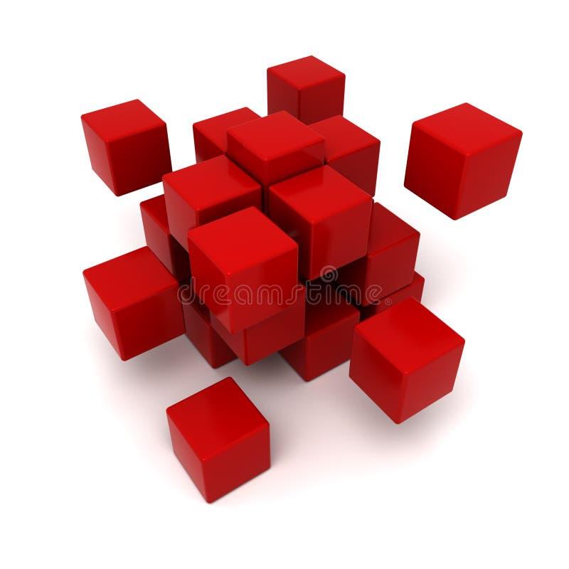 Fondo cúbico rojo stock de ilustración