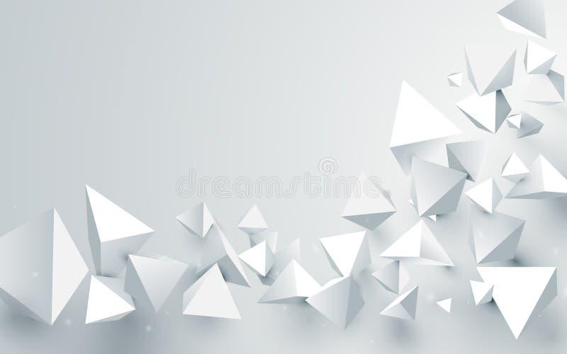 Fondo caótico de las pirámides abstractas del blanco 3d Ilustración del vector libre illustration