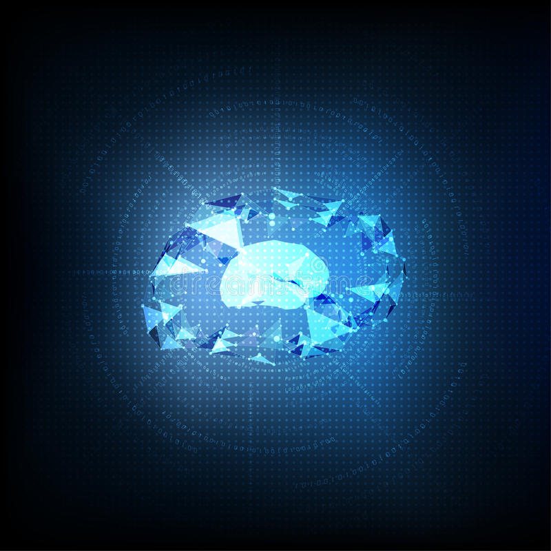 Fondo calculador geométrico tecnológico abstracto del vector del cerebro stock de ilustración