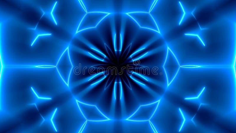 Fondo caleidoscopico al neon di frattale Contesto astratto di Digital royalty illustrazione gratis
