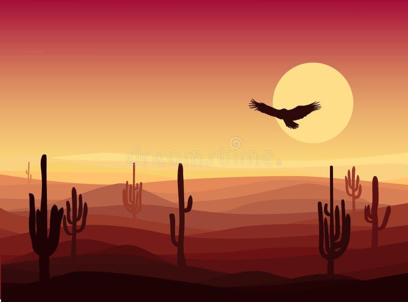 Fondo caliente del paisaje del desierto de la arena stock de ilustración